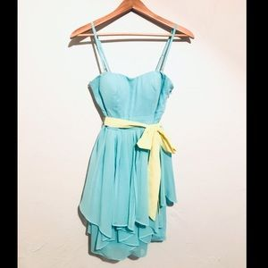 Ark & Co Turquoise Short Handkerchief Dress